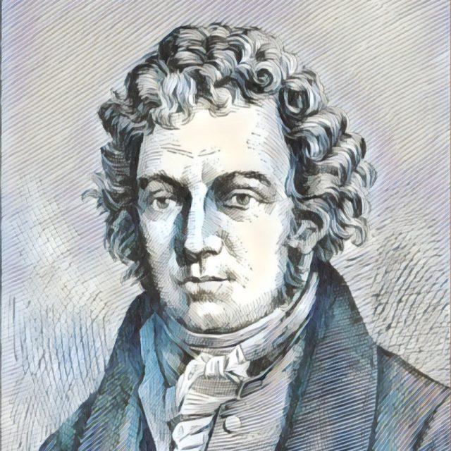 Imagem adaptada de um retrato de André-Marie Ampère.