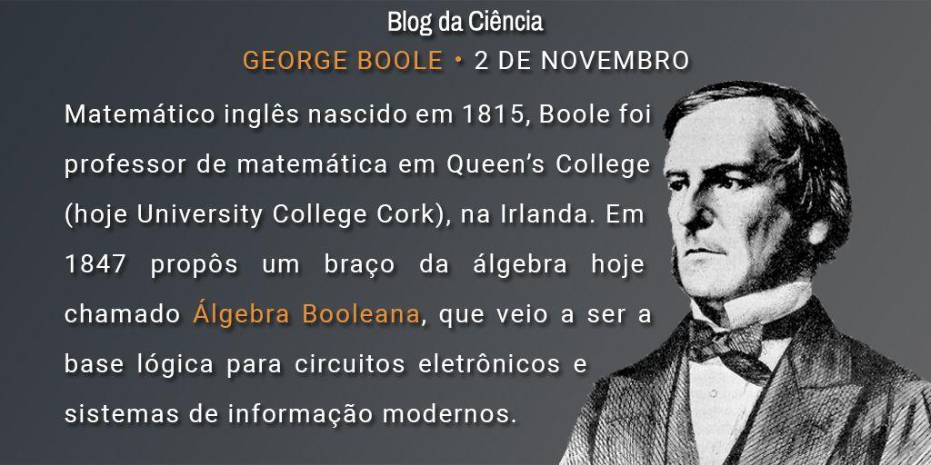 Matemático inglês nascido em 1815, Boole foi professor de matemática em Queen's College (hoje University College Cork), na Irlanda. Em 1847 propôs um braço da álgebra hoje chamado Álgebra Booleana, que veio a ser a base lógica para circuitos eletrônicos e sistemas de informação modernos.