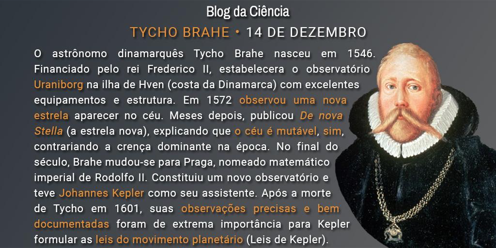 O astrônomo dinamarquês Tycho Brahe nasceu em 1546. Financiado pelo rei Frederico II, estabelecera o observatório Uraniborg na ilha de Hven (costa da Dinamarca) com excelentes equipamentos e estrutura. Em 1572 observou uma nova estrela aparecer no céu. Meses depois, publicou De nova Stella (a estrela nova), explicando que o céu é mutável, sim, contrariando a crença dominante na época. No final do século, Brahe mudou-se para Praga, nomeado matemático imperial de Rodolfo II. Constituiu um novo observatório e teve Johannes Kepler como seu assistente. Após a morte de Tycho em 1601, suas observações precisas e bem documentadas foram de extrema importância para Kepler formular as leis do movimento planetário (Leis de Kepler).