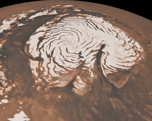 Calota de gelo do polo norte de Marte. Imagem: NASA/JPL-Caltech/MSSS.