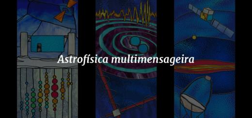 """Imagem de capa com três ilustrações ao fundo representando a evolução da astrofísica e o título """"Astrofísica multimensageira"""" à frente."""