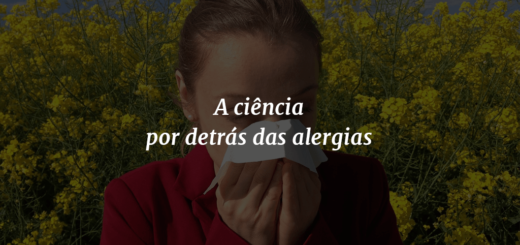 """Imagem de capa com o título """"A ciência por detrás das alergias"""" à frente e ao fundo uma mulher espirrando e flores amarelas ao redor."""