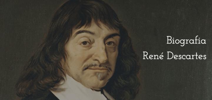 """Retrato (pintura a óleo) de René Descartes à esquerda e o título """"Biografia René Descartes"""" à direita."""