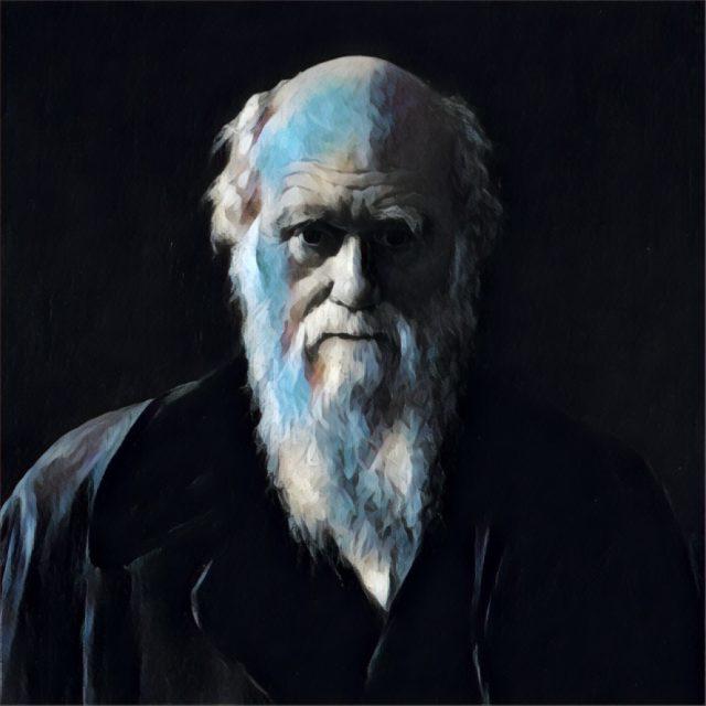 Imagem adaptada de um retrato de Charles Darwin.