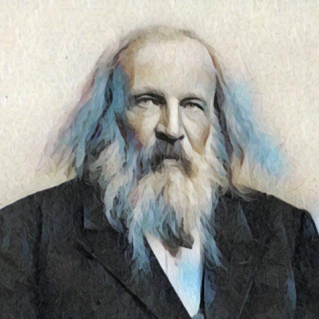 Imagem adaptada de um retrato de Dmitri Mendeleev.