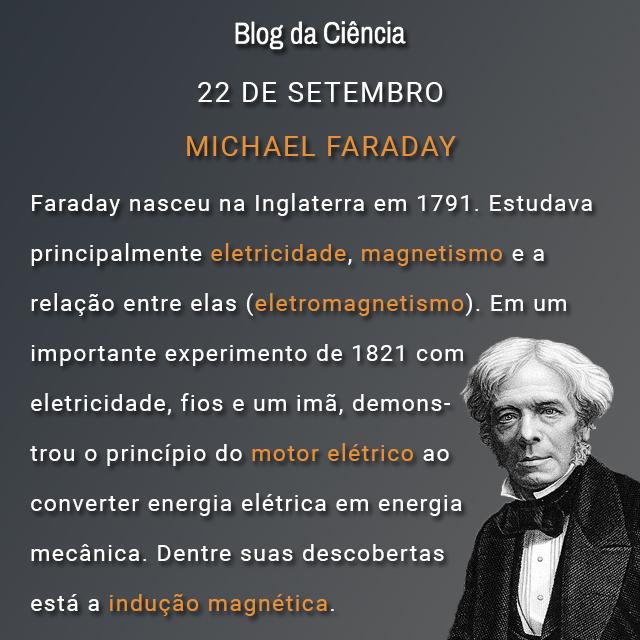 Faraday nasceu na Inglaterra em 1791. Estudava principalmente eletricidade, magnetismo e a relação entre elas (eletromagnetismo). Em um importante experimento de 1821 com eletricidade, fios e um imã, demonstrou o princípio do motor elétrico ao converter energia elétrica em energia mecânica. Dentre suas descobertas está a indução magnética.