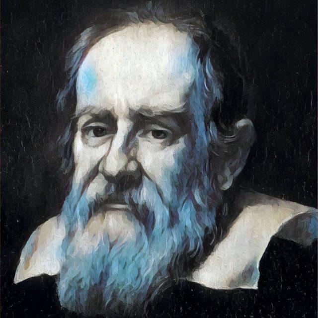 Imagem adaptada de um retrato de Galileu Galilei.