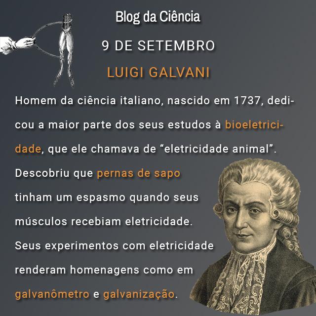 """Homem da ciência italiano, nascido em 1737, dedicou a maior parte dos seus estudos à bioeletricidade, que ele chamava de """"eletricidade animal"""". Descobriu que pernas de sapo tinham um espasmo quando seus músculos recebiam eletricidade. Seus experimentos com eletricidade renderam homenagens como em galvanômetro e galvanização."""