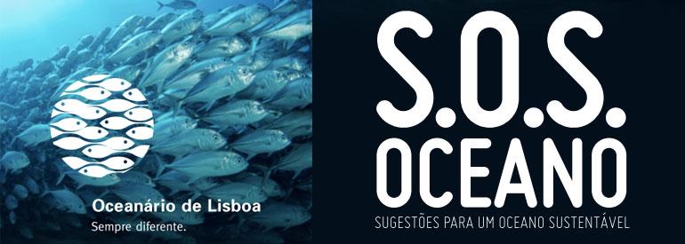 Capa do guia SOS Oceano - sugestões para um oceano sustentável, desenvolvido pelo Oceanário de Lisboa.