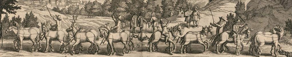 Ilustração feita em torno de 1650 mostrando dos grupos de cavalos tentando separar dois hemisférios de cobre selados a vácuo.