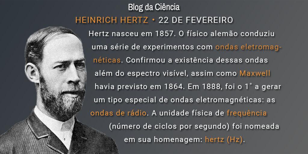 Hertz nasceu em 1857. O físico alemão conduziu uma série de experimentos com ondas eletromagnéticas. Confirmou a existência dessas ondas além do espectro visível, assim como Maxwell havia previsto em 1864. Em 1888, foi o 1˚ a gerar um tipo especial de ondas eletromagnéticas: as ondas de rádio. A unidade física de frequência (número de ciclos por segundo) foi nomeada em sua homenagem: hertz (Hz).