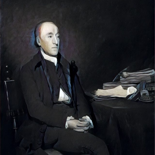 Imagem adaptada de um retrato de James Hutton.