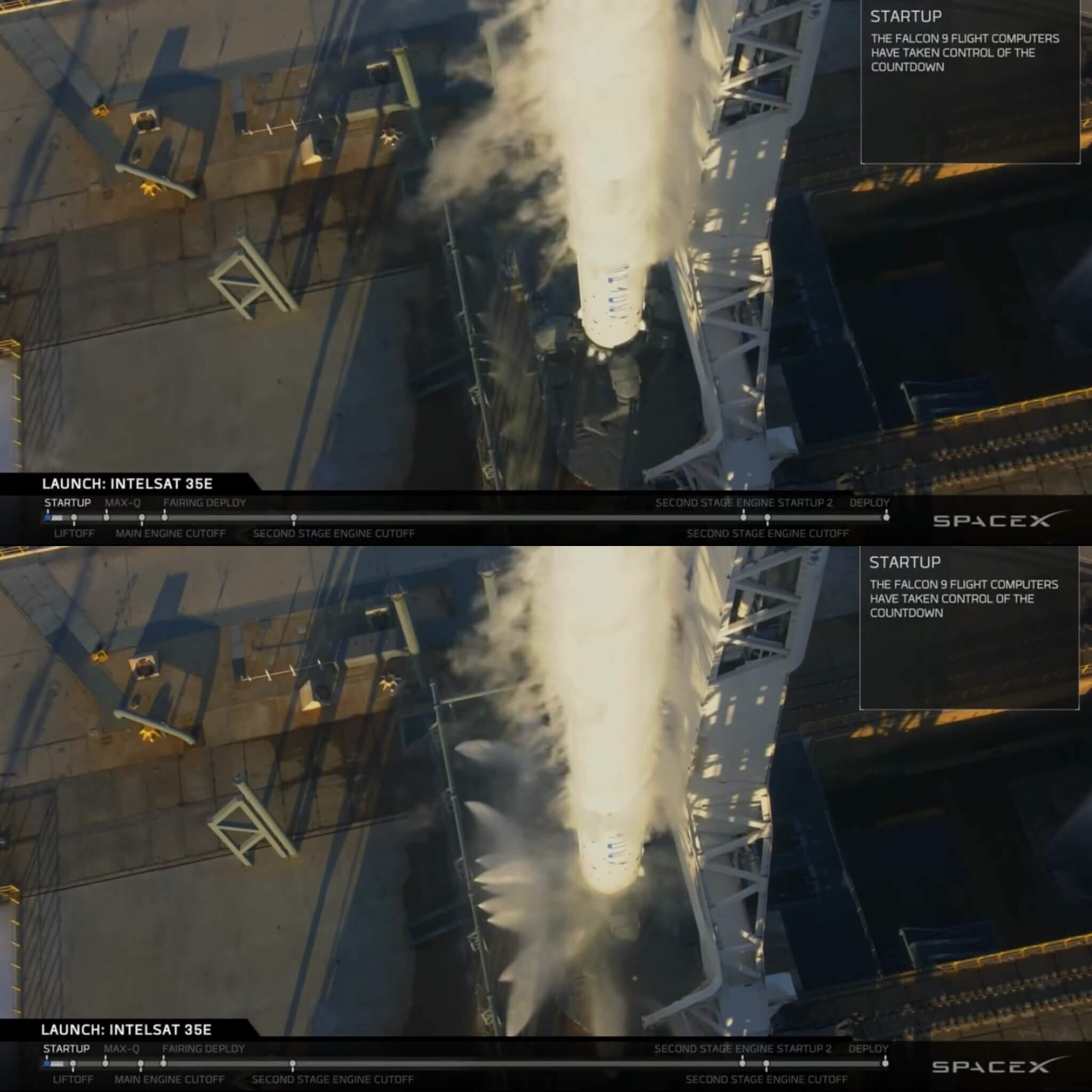 Duas imagens de um foguete Falcon 9, mostrando os jatos de água na base antes e depois de serem acionados.