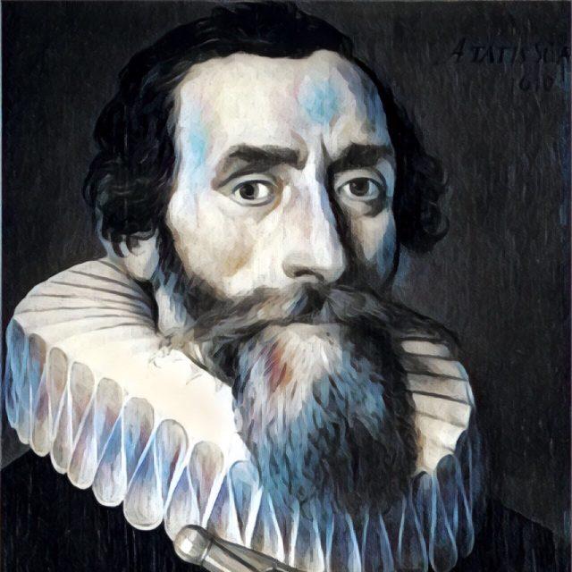 Imagem adaptada de um retrato de Johannes Kepler