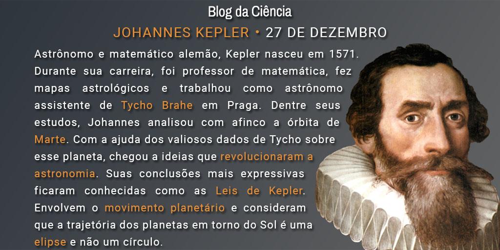 Astrônomo e matemático alemão, Kepler nasceu em 1571. Durante sua carreira, foi professor de matemática, fez mapas astrológicos e trabalhou como astrônomo assistente de Tycho Brahe em Praga. Dentre seus estudos, Johannes analisou com afinco a órbita de Marte. Com a ajuda dos valiosos dados de Tycho sobre esse planeta, chegou a ideias que revolucionaram a astronomia. Suas conclusões mais expressivas ficaram conhecidas como as Leis de Kepler. Envolvem o movimento planetário e consideram que a trajetória dos planetas em torno do Sol é uma elipse e não um círculo.