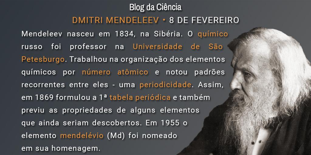 Mendeleev nasceu em 1834, na Sibéria. O químico russo foi professor na Universidade de São Petesburgo. Trabalhou na organização dos elementos químicos por número atômico e notou padrões recorrentes entre eles - uma periodicidade. Assim, em 1869 formulou a 1ª tabela periódica e também previu as propriedades de alguns elementos que ainda seriam descobertos. Em 1955 o elemento mendelévio (Md) foi nomeado em sua homenagem.