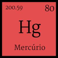 Quadrado contendo o símbolo do mercúrio na tabela periódico - Hg.