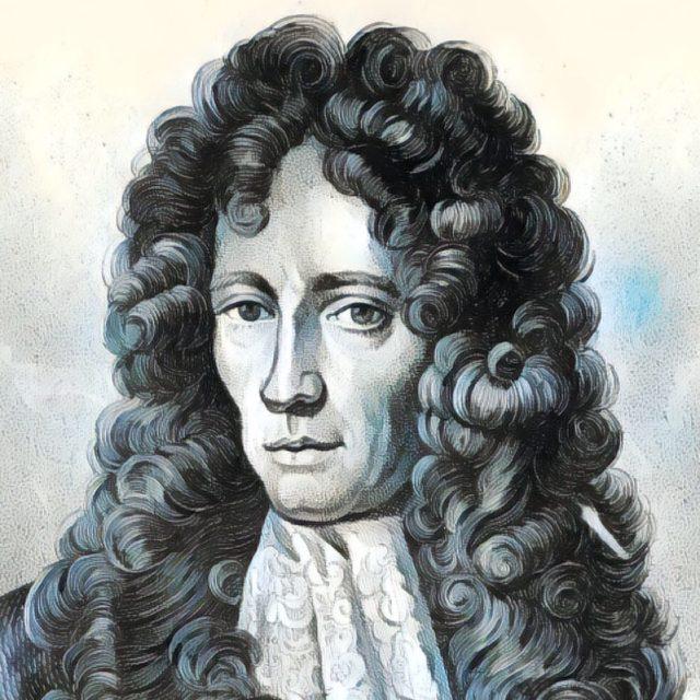 Imagem adaptada de um retrato de Robert Boyle.