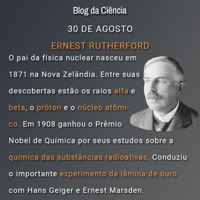 O pai da física nuclear nasceu em 1871 na Nova Zelândia. Entre suas descobertas estão os raios alfa e beta, o próton e o núcleo atômico. Em 1908 ganhou o Prêmio Nobel de Química por seus estudos sobre a química das substâncias radioativas. Conduziu o importante experimento da lâmina de ouro com Hans Geiger e Ernest Marsden.