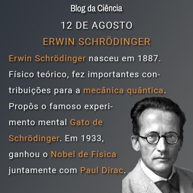 Em 1887 nascia Erwin Schrödinger. Físico teórico, fez importantes contribuições para a mecânica quântica. Propôs o famoso experimento mental Gato de Schrödinger. Em 1933 ganhou o Nobel de Física juntamente com Paul Dirac.